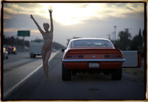 sveta, car, blonde, exhibitionist, outdoors, road, skinny, short hair, nude, pussy, tattoo, muscle car, public nudity, camaro, funny
