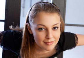 nikia, nikia a, sweet, face, brunette, beautiful, smile, metart, teen, adult model, russian, blue eyes, lips