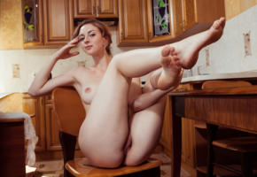peggi, bon appetit, chair, hot, nude, crossed legs, kitchen, sexy, tip toes, ass, legs, pussy, jamie joi