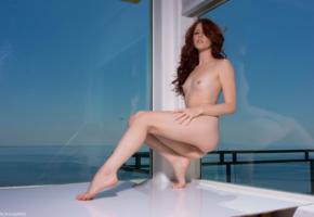 elle alexandra, redhead, sea, view, sexy legs, small tits