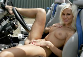 lola, dido, dido angel, lola myluv, dido a, blonde, jeep yj, naked, small tits, perky nipples, shaved pussy, labia, spread legs, smile