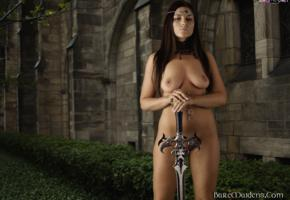 ezca, brunette, baremaidens, nude, sword, shaved, boobs, tits