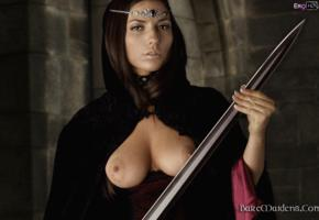 ezca, brunette, baremaidens, boobs, sword, tits out, tits, close up, nice tits, nipples