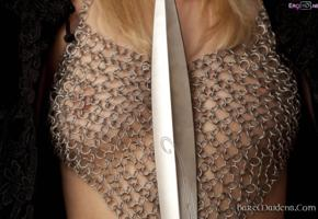 gadriella, blonde, baremaidens, tits, chainmail, see through, sword