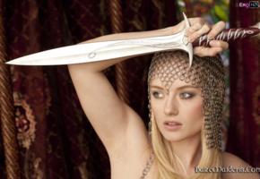 gadriella, blonde, baremaidens, sword