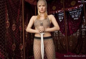 gadriella, blonde, baremaidens, chainmail, sword, see through
