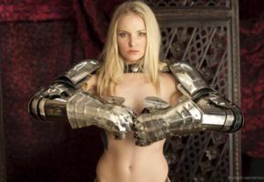 liz ashley, blonde, baremaidens, knights, armour