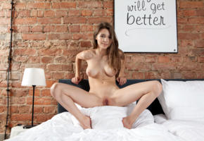 mila azul, mila, milla, brunette, bed, naked, big tits, nipples, shaved pussy, labia, spread legs, smile, hi-q, perfect body, perfect tits, headboard