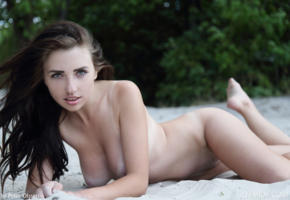 niemira, beach, nude, boobs, brunette, green eyes, perfect girl