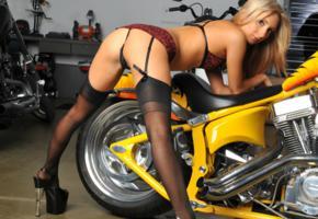 blonde, bike, thong, sexy, heels, stockings, bra, garage, ass
