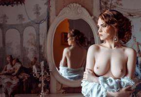 boobs, sexy, mirror, artistic, portrait, vintage, nipples, redhead