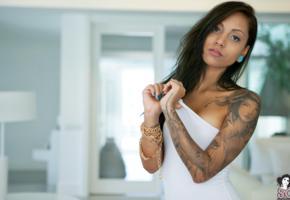 zad, suicide girl, model, brunette, tattoo, long hair, black eyes, suicide girls