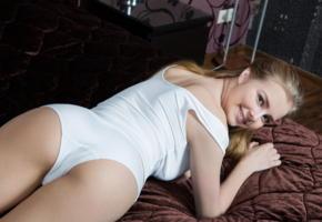 marit, bed, sexy, hot, model, sexy girl, smile, white panties, panties