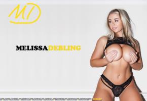 melissa debling, hot, blonde, boobs, hand bra, big tits, lingerie, black panties