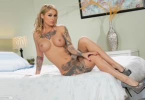 tattoo, heels, nude, tits, blonde, mature, bed, unknown