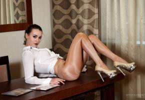 legs, pantyhose, artofgloss, heels, secretary, blouse