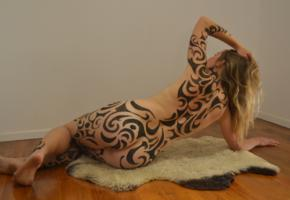 bodypaint, blonde, amateur, painted, tattoo, ass, back