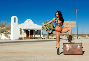 madison ivy, brunette, big boobs, hot legs, sexy, hot, suitcase, boots, hitchhiker, hitchhiking, thumbing, hitching, autostop