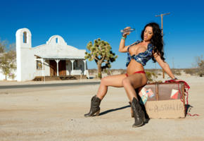 madison ivy, brunette, big boobs, big tits, boobs, sexy, hot, wet, water, suitcase, boots