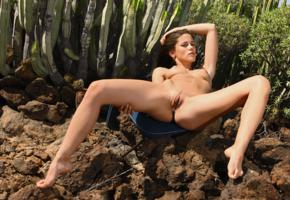 caprice, little caprice, marketa, caprice a, brunette, outdoors, desert, naked, tits, puffy nipples, landing strip, shaved pussy, labia, ass, spread legs, hi-q, cactus