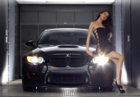 bmw, brunette, black, mini dress, legs, high heels, harmonous legs