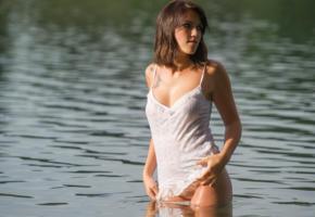 water, shirt, wet, see through, boobs, princess, pubis, bottomless, girl, erotic
