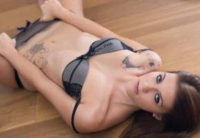 girl, boobs, bra, sexy, underwear, brunette, lingerie, tattoo