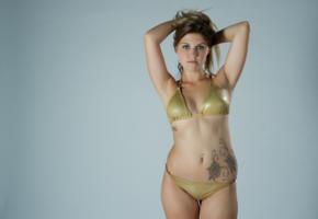 girl, bikini, brunette, tattoo
