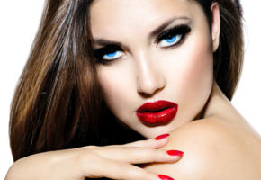 sexy, hot, red, lips, blue, eyes, brown, artistic, wallpaper, hd, nails, model, face, perfect