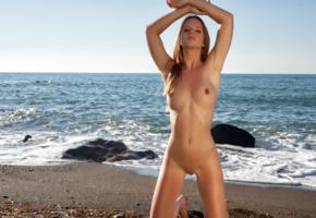 amanda, auburn, beach, naked, tits, hard nipples, shaved pussy, labia, hi-q, sea, boobs