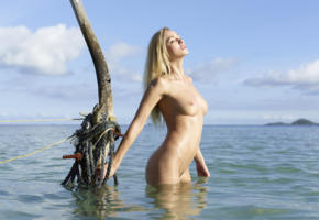unknown, blonde, standing, sea, wet, tits