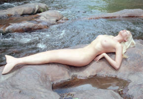 cosplay, mermaid, blonde, on, rocks, boobs, tits, graphics