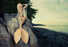 cosplay, mermaid, sea side, rock