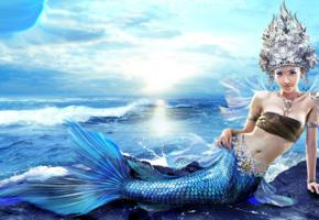 cosplay, mermaid, blue, scales, silver, head, piece