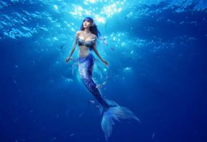 cosplay, mermaid, ocean, blue