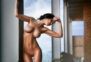 skinny, big tits, boobs, shaved, landing strip, brunette, navel, tanned, big boobs, nude, hot, sexy, naked, artistic, indoor