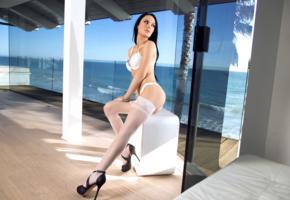 meghan leopard, brunette, sexy girl, lingerie, stockings, heels, sexy legs, white stockings