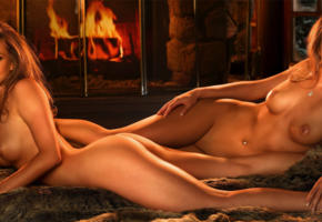 jennifer campbell, natalie campbell, sisters, twins, playboy, playmate, hot, retro, boobs, blue eyes, perfect body, smile, nipples, brown hair, long hair, fire, nude, hd, wide, ultra, vintage, double trouble