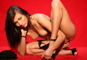 michaela isizzu, sexy girl, czech, nude, naked, tits, brunette, tanned, long hair, panties, sexy legs, panties down, high heels