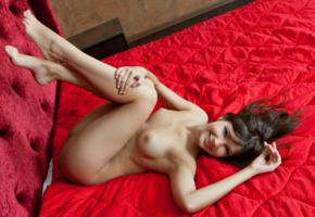zelda b, brunette, sexy girl, nude, naked, tits, smile, legs up, sexy foot