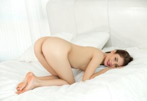 jenna, liana c, lerae, kseniya, viktoriia aliko, paula u, amy, hilary c, jane y, sexy girl, adult model, ass, doggy, nude, bed, brunette, smile