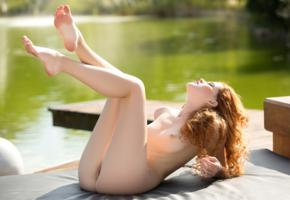 heidi romanova, heidi, sexy girl, nude, naked, legs up, ass, redhead, legs, tits
