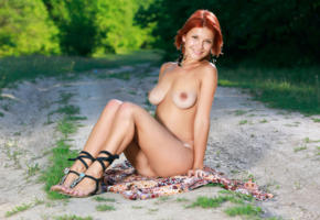 dina p, violla a, myza, sexy girl, adult model, redhead, nude, boobs, tits, smile