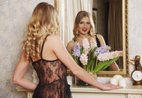 lucy heart, blonde, sexy girl, adult model, beauty, mirror, flowers, clock