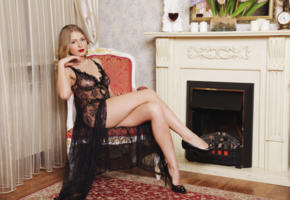 lucy heart, blonde, sexy girl, adult model, legs, see through, fireplace