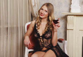 lucy heart, blonde, sexy girl, adult model, see through, wine glass, smile