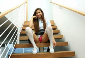 nina north, stairs, model, lingerie, non nude, smile, knee socks
