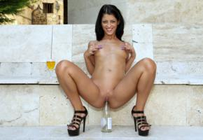 vivien bell, brunette, outdoors, naked, masturbating, wine bottle, insertion, small tits, nipples, shaved pussy, labia, spread legs, high heels, smile, hi-q, bottle