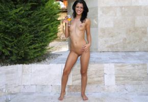 vivien bell, brunette, outdoors, naked, small tits, nipples, shaved pussy, labia, wine glass, smile, hi-q