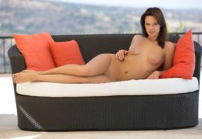 raise, sexy girl, nude, naked, legs, tits, nipples, shaved pussy, brunette
